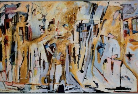 Værk HS_30, Oliemaleri, Figurbillede (Vinterbillede), 114 x 195 cm