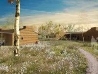 Boligselskabet Alliken, arkitektfirmaet Vandkunsten og Domea.dk vil gerne have de 42 boliger i Høng til at passe ind i omgivelserne. Illustration: Vandkunsten